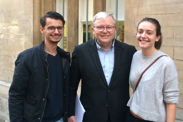 Nathan is pictured with former PM Kevin Rudd and fellow student Madeleine Salinger