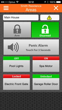 MyAlarm area control screen