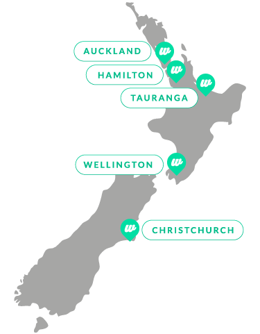 Map of New Zealand with marked cities of Auckland, Hamilton, Wellington and Christchurch