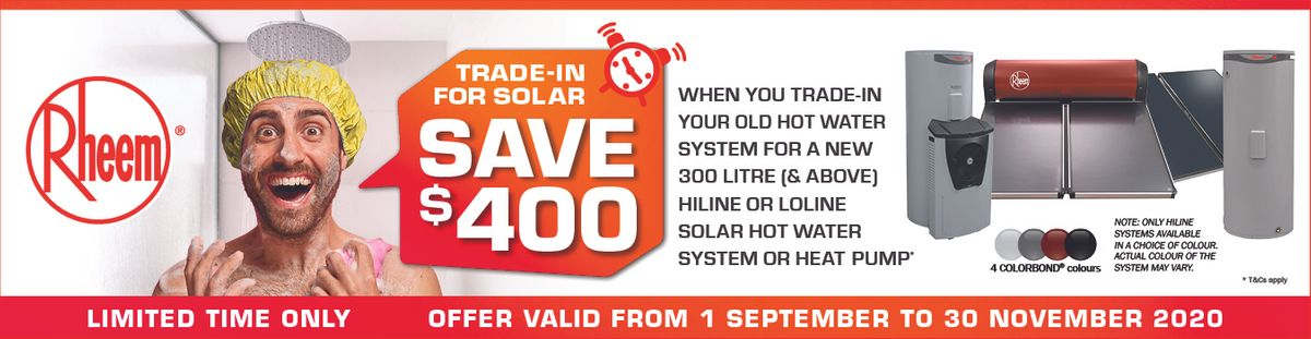 Rheem Promotion for Solar Hot Water Heater