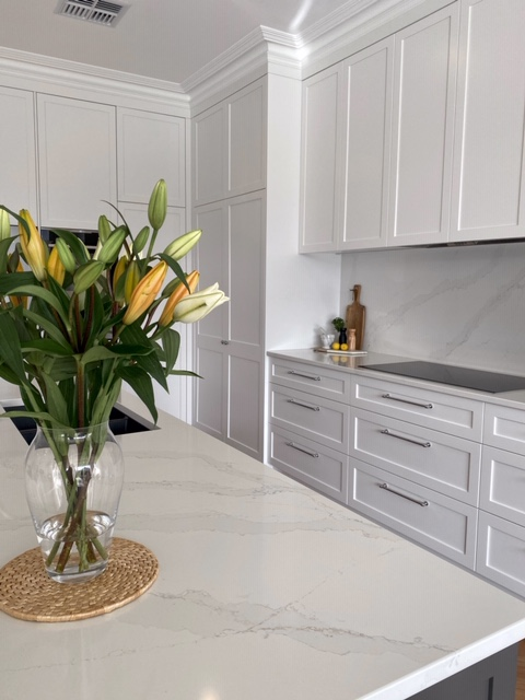 Azalea st - Marble bench top and custom kitchen cupboards