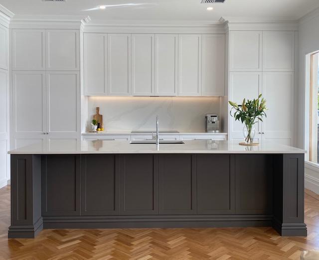 Azalea st - white custom kitchen cupboards and grey island bench