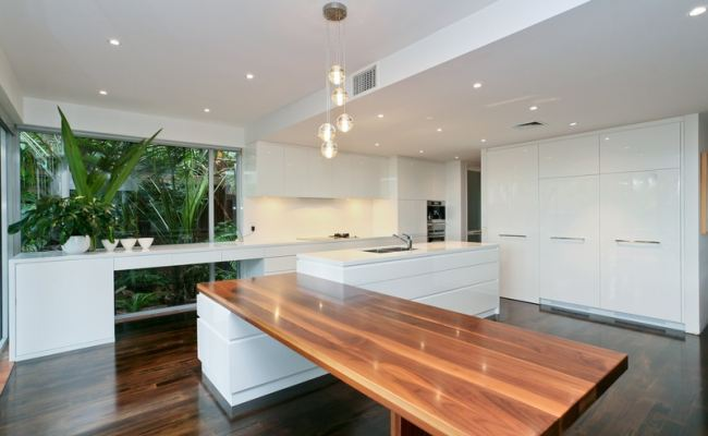 Modern Sleek White and Wood Kitchen