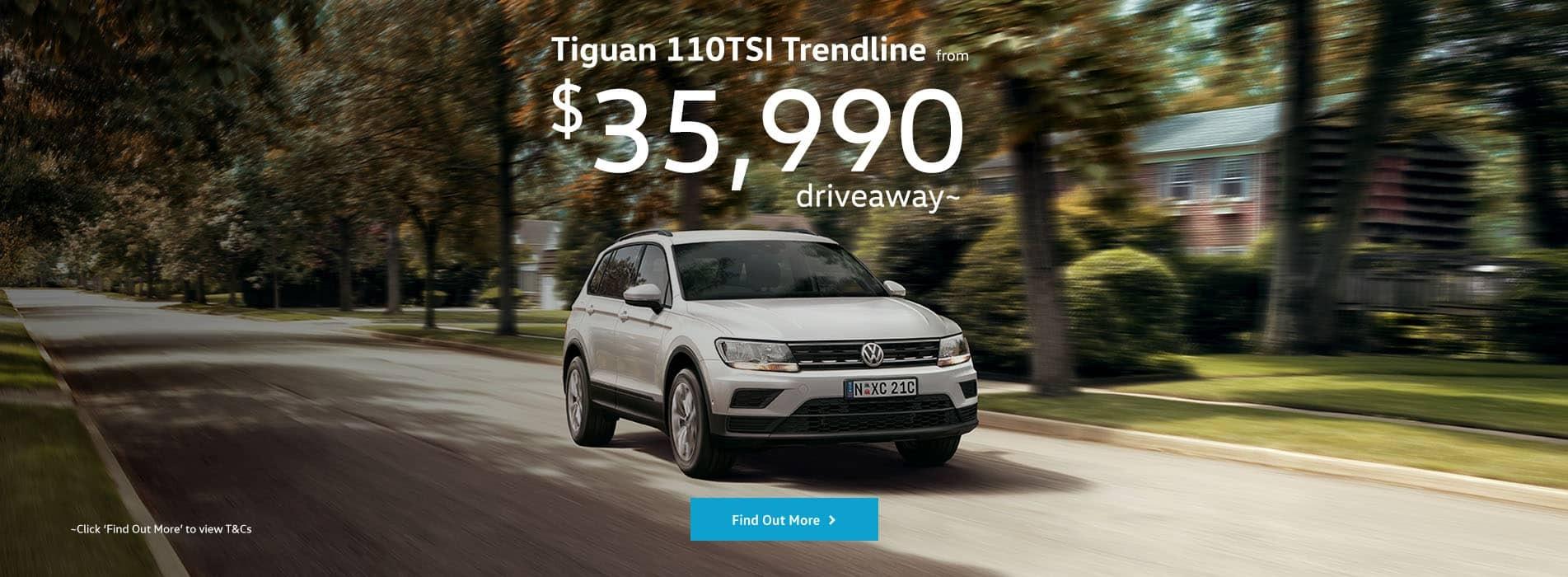 Tiguan 110TSI Trendline Driveaway Offer