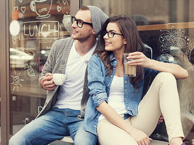 Couple wearing glasses