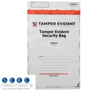 White SCEC Endorsed A3 Tamper Evident Security Bags