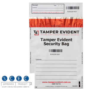 White SCEC Endorsed A5 Tamper Evident Security Bags