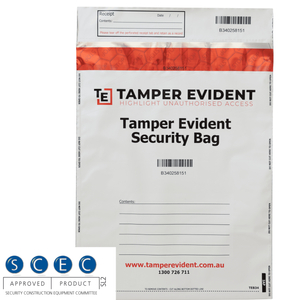 White SCEC Endorsed A4 Tamper Evident Security Bags