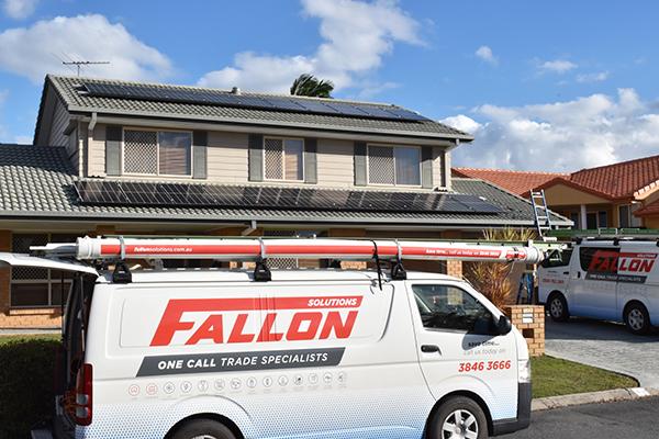 Solar panels on house with Fallon trade van