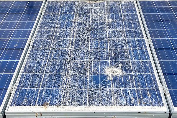Damaged solar panel