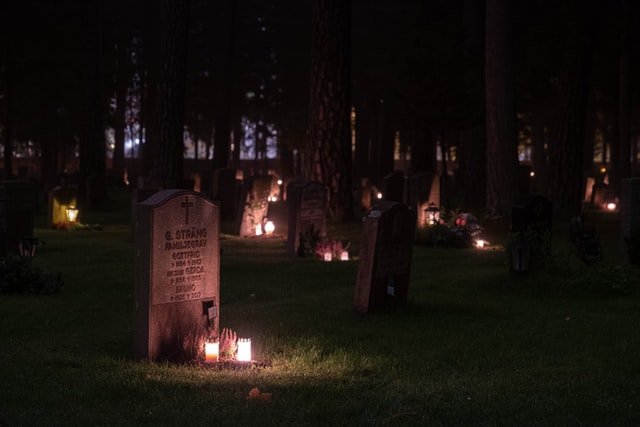 Graves with candles