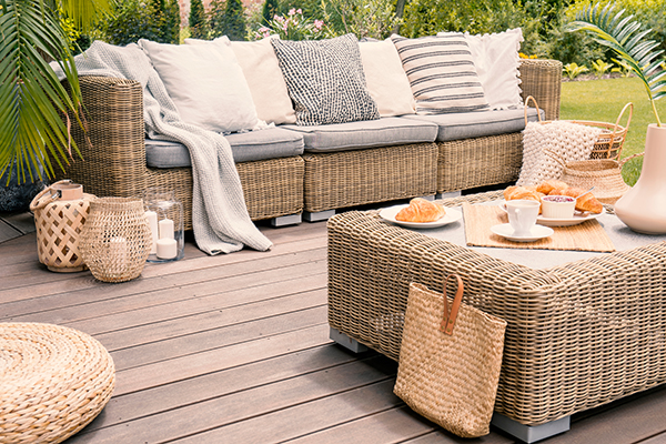 Timber deck with furniture