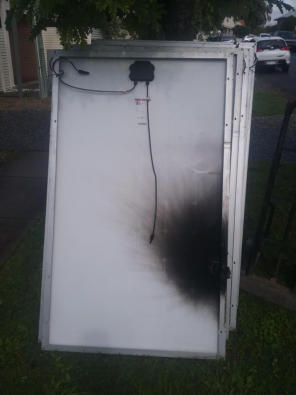 Burns to solar panel