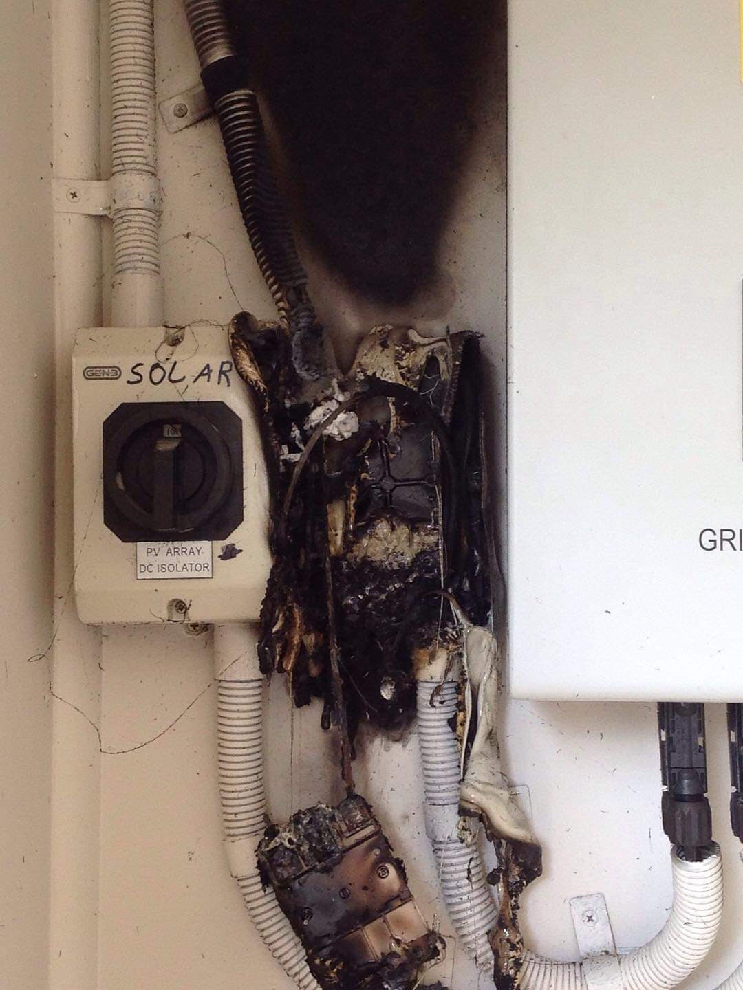 Fire damage caused by a faulty solar isolator