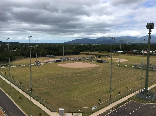 Australian Sports Lighting Solutions | Cairns Softball and Multi-Purpose Fields– Light Pole installation