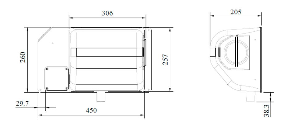Drawing showing the dimensions of the wall mounted JetBlack Safety Personnel Cleaning station