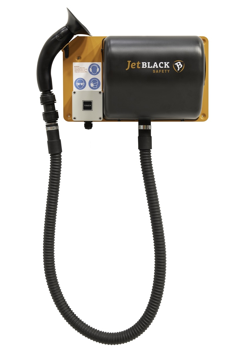 Product shot of the JetBlack Safety wall mounted personnel cleaning station with full hose