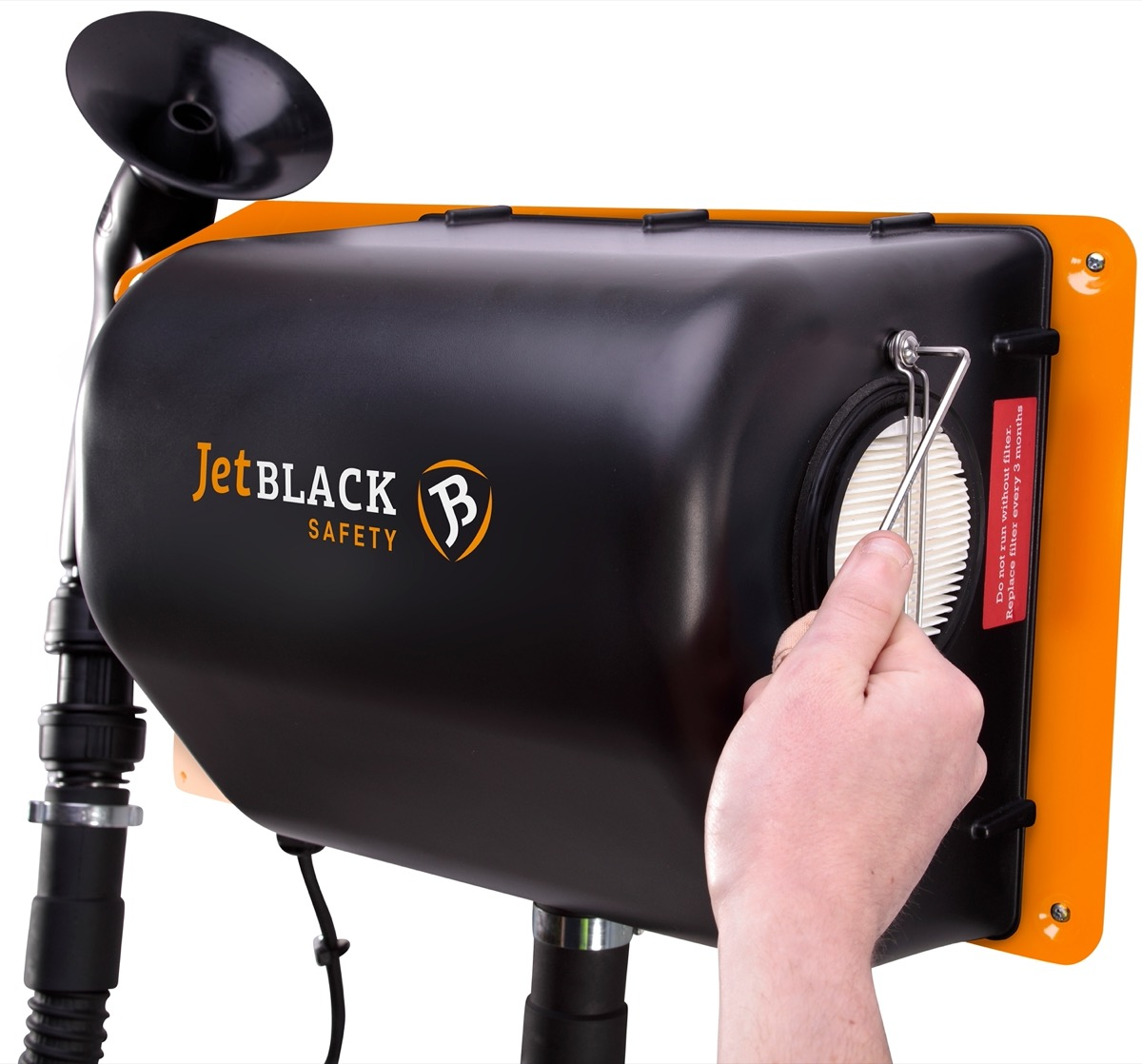 Wall mounted JetBlack Safety Personnel Cleaning Station with person's hand changing the filter