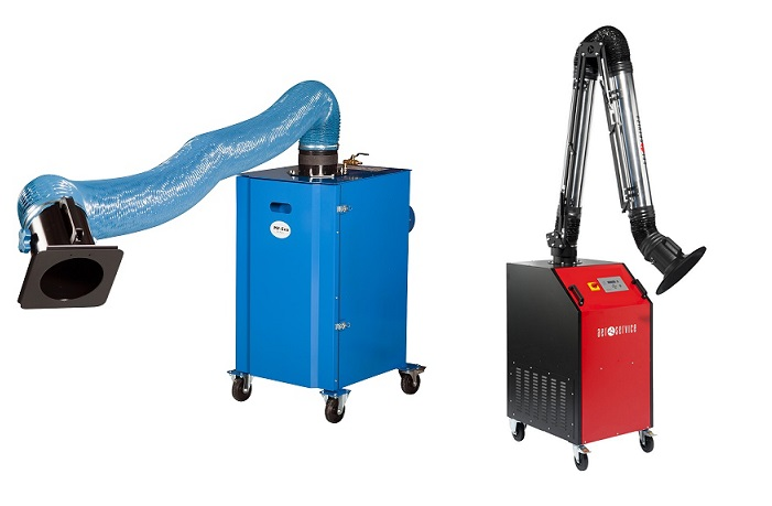 Mobile filtered fume extraction units