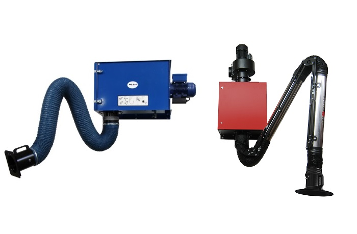 Filtered wall mounted fume extraction units