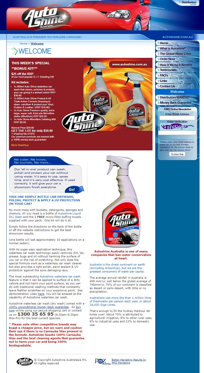 Autoshine Waterless Carwash :: PMZ Marketing Client