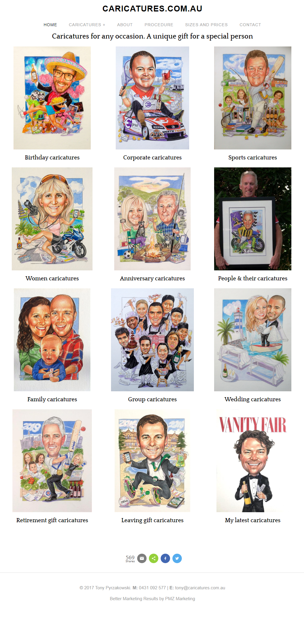Marketing - Caricatures.Com.Au :: PMZ Marketing Client