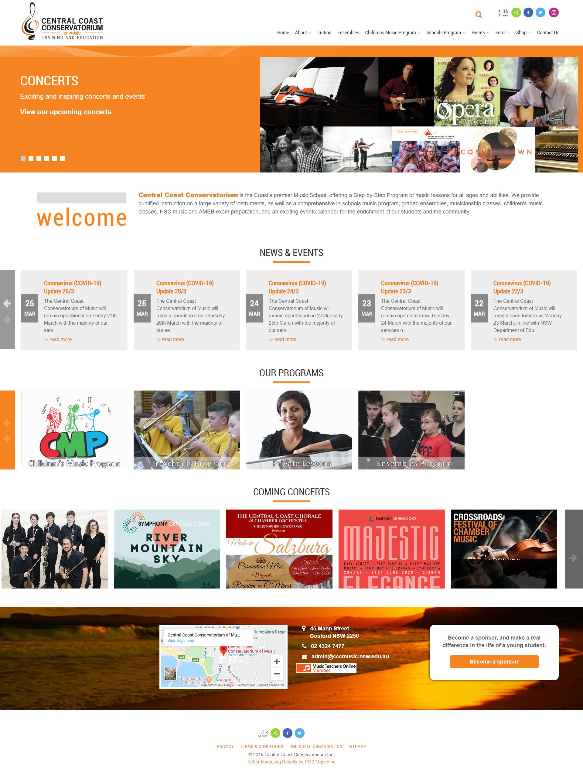 Central Coast Conservatorium :: PMZ Marketing Client