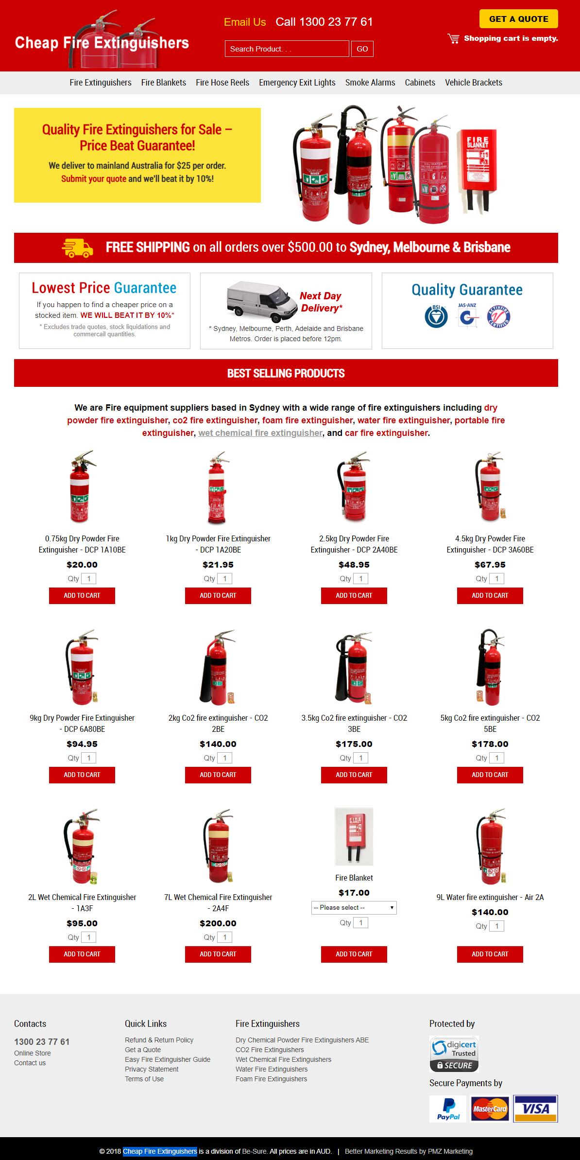 Cheap Fire Extinguishers :: PMZ Marketing Client