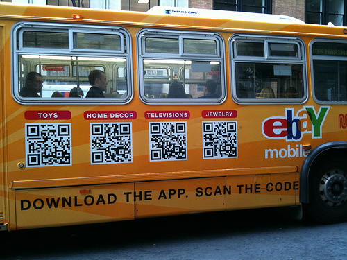 QR Code Signage on a passenger bus