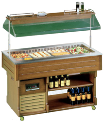 Tecfrigo Isola-4M Walnut Mobile Salad Bar