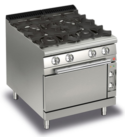 Baron Queen7 Q70PCF/GE8005 4 Burner Gas Range Electric Oven