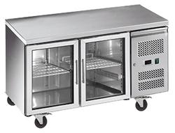 Exquisite USC260G Two Glass Doors Underbench Storage Refrigerator