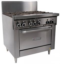 Garland GF36-6R Restaurant Series Gas 6 Open Top Burners Standard Oven