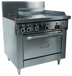 Garland GFE36-2G24C Restaurant Series Gas 2 Open Top Burners 600mm Griddle Convection Oven Electronic Ignition