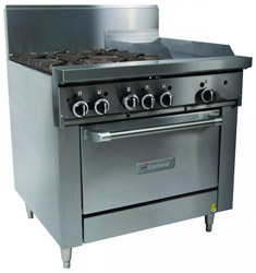 Garland GFE36-4G12C Restaurant Series Gas 4 Open Top Burners 300mm Griddle Convection Oven Electronic Ignition