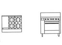 Goldstein PF12G428 4 Burner Griddle Gas Oven