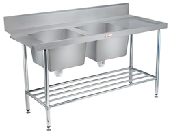 Simply Stainless SS09-7-1650DB Double Sink Dishwasher Inlet Bench