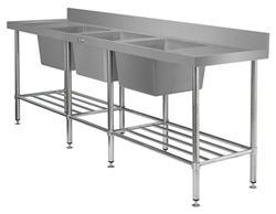 Simply Stainless SS24-7-2400-TB Triple Bowl Sink Bench