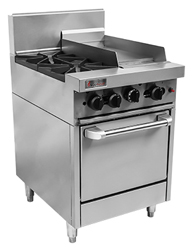 Trueheat RCR6-2-3G Gas 2 Open Top Burners 300 Griddle Gas Oven