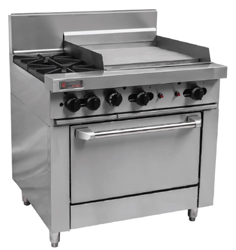 Trueheat RCR9-2-6G Gas 2 Open Top Burners 600 Griddle Gas Oven