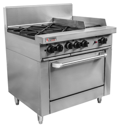 Trueheat RCR9-4-3G Gas 4 Open Top Burners 300 Griddle Gas Oven