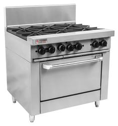 Trueheat RCR9-6 Gas 6 Open Top Burners Gas Oven