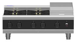 Waldorf Bold RNLB8603G-B Low Back Gas Cooktop 4 Burner 300 Griddle Bench Model