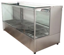 Woodson WHFSQ26-65 6 Bay Hot Food Display with Pans Hot Food Display Square Profile