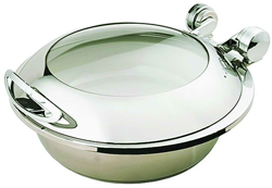 Yellow Induction HA4-503 4 Ltr Round Chafing Dish Glass Hinge Lid