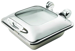 Yellow Induction HA5-601 5 Ltr Square Chafing Dish Glass Hinge Lid
