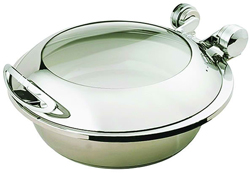 Yellow Induction HA6-507 6 Ltr Round Chafing Dish Glass Hinge Lid